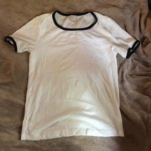 Anthropologie Postmark white short sleeve rib top